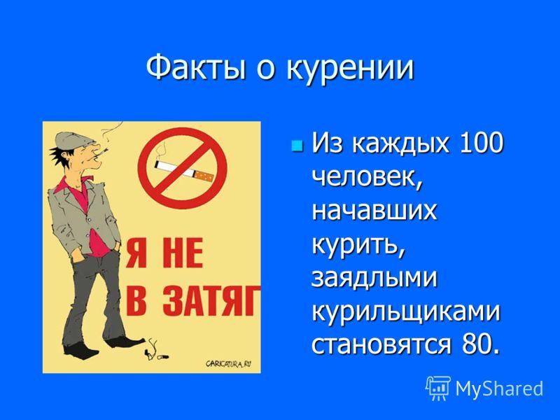 Факты о курении Из каждых 100 человек, начавших курить, заядлыми курильщиками становятся 80.
