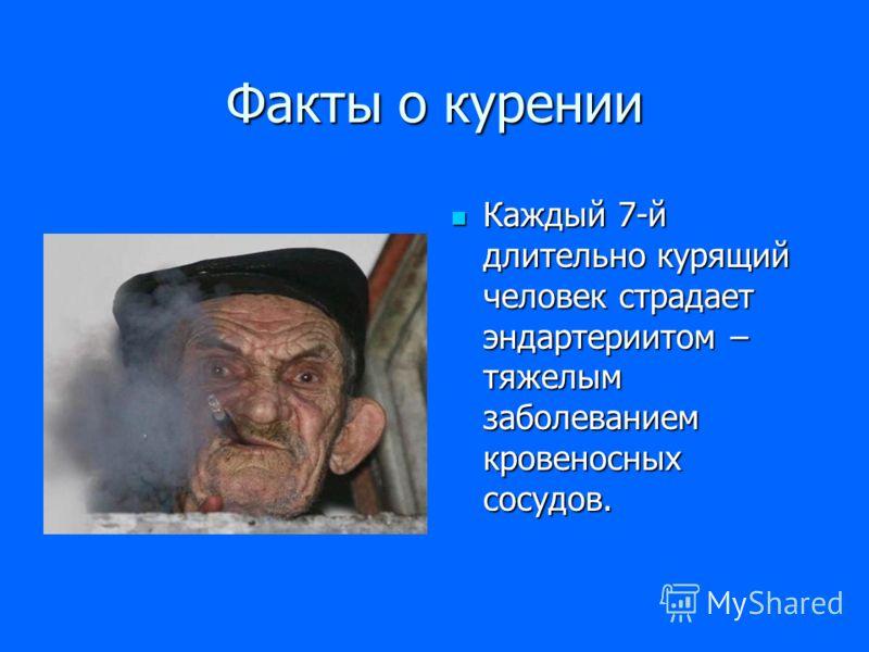 Факты о курении Каждый 7-й длительно курящий человек страдает эндартериитом – тяжелым заболеванием кровеносных сосудов.
