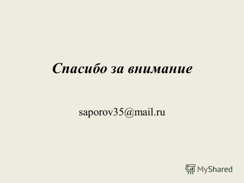 Спасибо за внимание saporov35@mail.ru