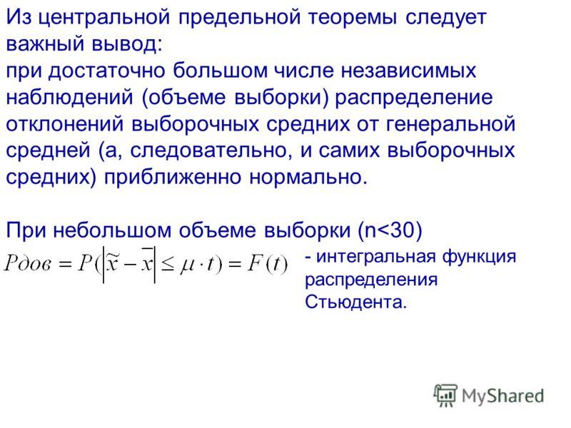 Из центральной предельной теоремы следует важный вывод: при достаточно большом числе независимых наблюдений (объеме выборки) распределение отклонений выборочных средних от генеральной средней (а, следовательно, и самих выборочных средних) приближенно