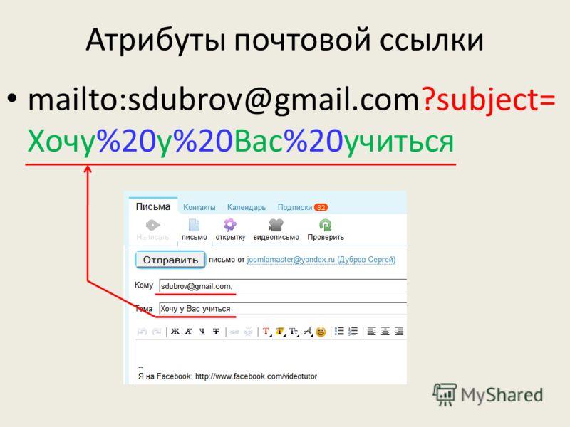 Атрибуты почтовой ссылки mailto:sdubrov@gmail.com?subject= Хочу%20у%20Вас%20учиться