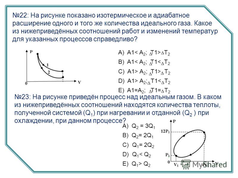 22: На рисунке показано изотермическое и адиабатное расширение одного и того же количества идеального газа. Какое из нижеприведённых соотношений работ и изменений температур для указанных процессов справедливо? А) A1 T 2 B) A1< A 2 ; T1< T 2 C) A1> A
