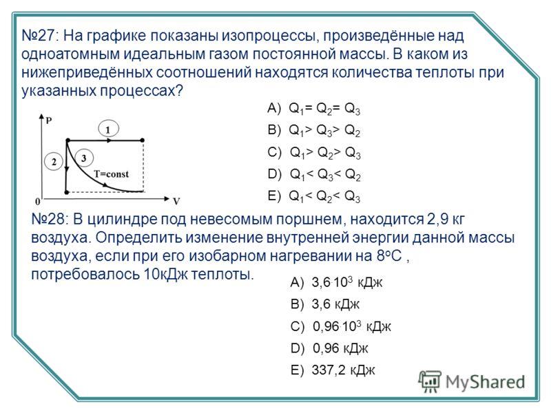 27: На графике показаны изопроцессы, произведённые над одноатомным идеальным газом постоянной массы. В каком из нижеприведённых соотношений находятся количества теплоты при указанных процессах? А) Q 1 = Q 2 = Q 3 B) Q 1 > Q 3 > Q 2 C) Q 1 > Q 2 > Q 3