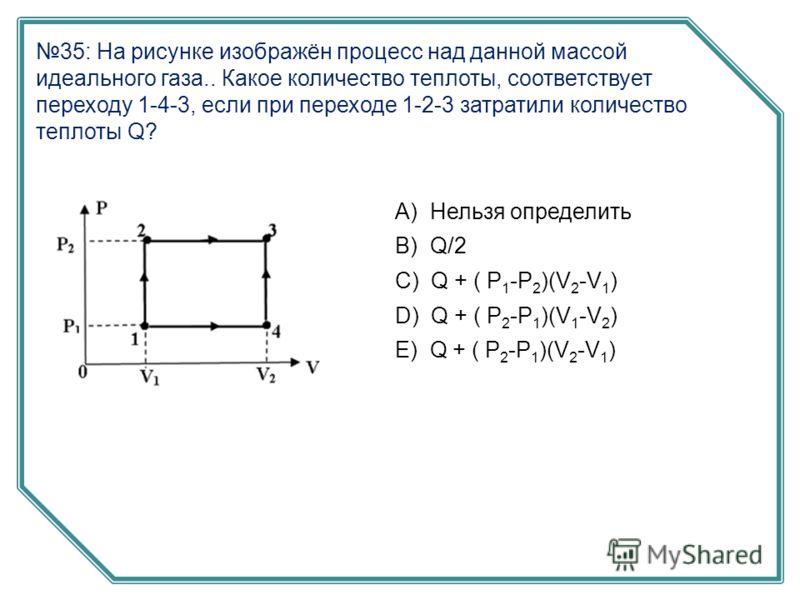 35: На рисунке изображён процесс над данной массой идеального газа.. Какое количество теплоты, соответствует переходу 1-4-3, если при переходе 1-2-3 затратили количество теплоты Q? А) Нельзя определить B) Q/2 C) Q + ( P 1 -P 2 )(V 2 -V 1 ) D) Q + ( P