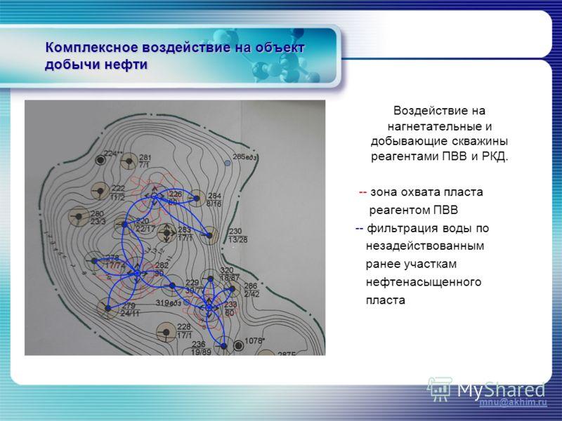 Комплексное воздействие на объект добычи нефти Воздействие на нагнетательные и добывающие скважины реагентами ПВВ и РКД. -- зона охвата пласта реагентом ПВВ -- фильтрация воды по незадействованным ранее участкам нефтенасыщенного пласта mnu@akhim.ru