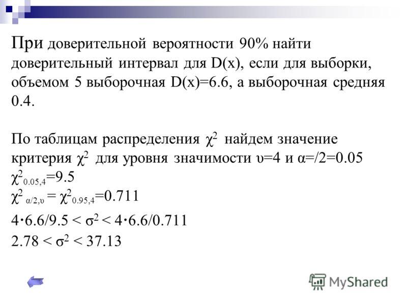 При доверительной вероятности 90% найти доверительный интервал для D(x), если для выборки, объемом 5 выборочная D(x)=6.6, а выборочная средняя 0.4. По таблицам распределения χ 2 найдем значение критерия χ 2 для уровня значимости υ=4 и α=/2=0.05 χ 2 0