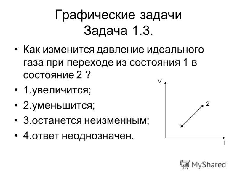 Графические задачи Задача 1.3. Как изменится давление идеального газа при переходе из состояния 1 в состояние 2 ? 1.увеличится; 2.уменьшится; 3.останется неизменным; 4.ответ неоднозначен. V T 1 2