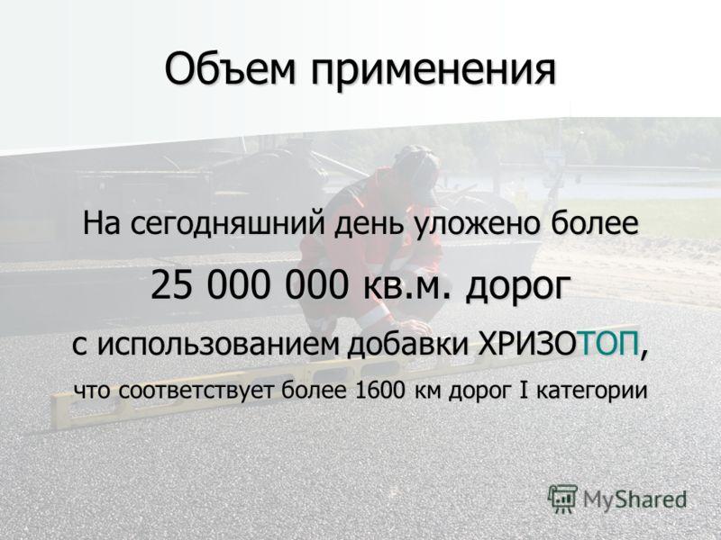 Объем применения На сегодняшний день уложено более 25 000 000 кв.м. дорог с использованием добавки ХРИЗОТОП, что соответствует более 1600 км дорог I категории