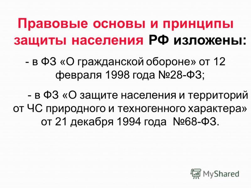 Правовые основы и принципы защиты населения РФ изложены: - в ФЗ «О гражданской обороне» от 12 февраля 1998 года 28-ФЗ; - в ФЗ «О защите населения и территорий от ЧС природного и техногенного характера» от 21 декабря 1994 года 68-ФЗ.