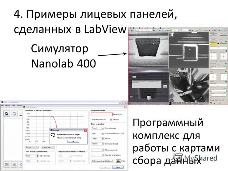 4. Примеры лицевых панелей, сделанных в LabView Симулятор Nanolab 400 Программный комплекс для работы с картами сбора данных