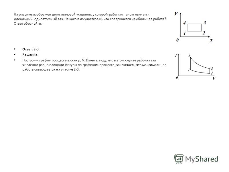 На рисунке изображен цикл тепловой машины, у которой рабочим телом является идеальный одноатомный газ. На каком из участков цикла совершается наибольшая работа? Ответ обоснуйте. Ответ: 2-3. Решение: Построим график процесса в осях p, V. Имея в виду,