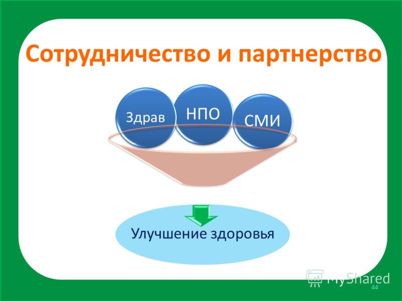 Сотрудничество и партнерство Улучшение здоровья НПО Здрав СМИ 44