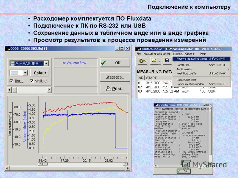 Подключение к компьютеру Расходомер комплектуется ПО Fluxdata Подключение к ПК по RS-232 или USB Сохранение данных в табличном виде или в виде графика Просмотр результатов в процессе проведения измерений