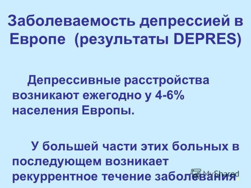 Заболеваемость депрессией в Европе (результаты DEPRES) Депрессивные расстройства возникают ежегодно у 4-6% населения Европы. У большей части этих больных в последующем возникает рекуррентное течение заболевания.