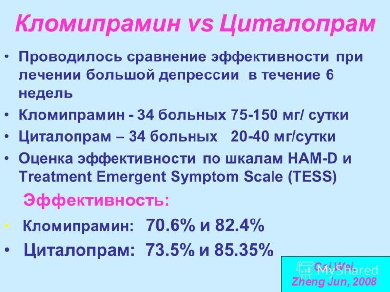 Кломипрамин vs Циталопрам Проводилось сравнение эффективности при лечении большой депрессии в течение 6 недель Кломипрамин - 34 больных 75-150 мг/ сутки Циталопрам – 34 больных 20-40 мг/сутки Оценка эффективности по шкалам HAM-D и Treatment Emergent