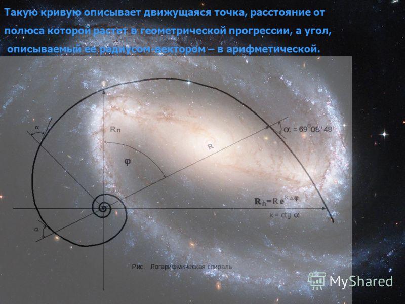 Такую кривую описывает движущаяся точка, расстояние от полюса которой растет в геометрической прогрессии, а угол, описываемый ее радиусом-вектором – в арифметической.