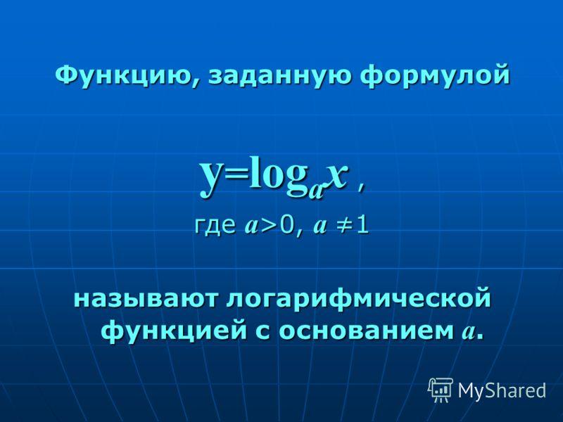 Функцию, заданную формулой y = log a x, где а >0, а 1 называют логарифмической функцией с основанием а.
