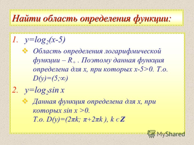 Найти область определения функции: 1.y =log2(х-5) Область определения логарифмической функции – R+. Поэтому данная функция определена для х, при которых х-5>0. Т.о. D(y)=(5;) 2.y =log2sin х Данная функция определена для х, при которых sin х >0. Т.о.
