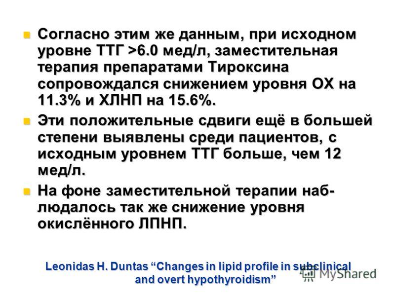 Leonidas H. Duntas Changes in lipid profile in subclinical and overt hypothyroidism Согласно этим же данным, при исходном уровне ТТГ >6.0 мед/л, заместительная терапия препаратами Тироксина сопровождался снижением уровня ОХ на 11.3% и ХЛНП на 15.6%.