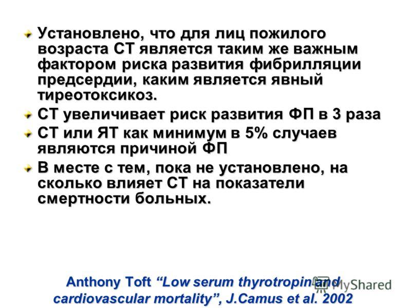 Anthony Toft Low serum thyrotropin and cardiovascular mortality, J.Camus et al. 2002 Установлено, что для лиц пожилого возраста СТ является таким же важным фактором риска развития фибрилляции предсердии, каким является явный тиреотоксикоз. СТ увеличи
