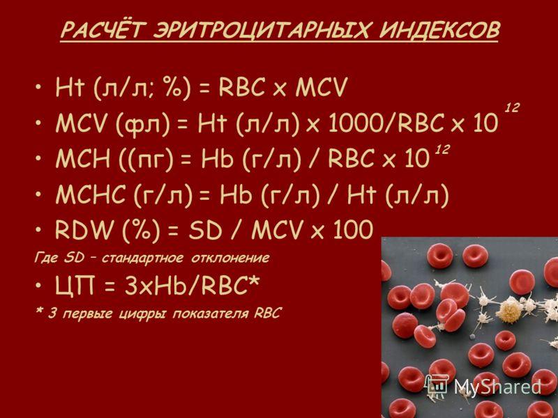 РАСЧЁТ ЭРИТРОЦИТАРНЫХ ИНДЕКСОВ Ht (л/л; %) = RBC x MCV MCV (фл) = Ht (л/л) х 1000/RBC x 10 MCH ((пг) = Нb (г/л) / RBC x 10 MCHC (г/л) = Hb (г/л) / Ht (л/л) RDW (%) = SD / MCV x 100 Где SD – стандартное отклонение ЦП = 3хHb/RBC* * 3 первые цифры показ