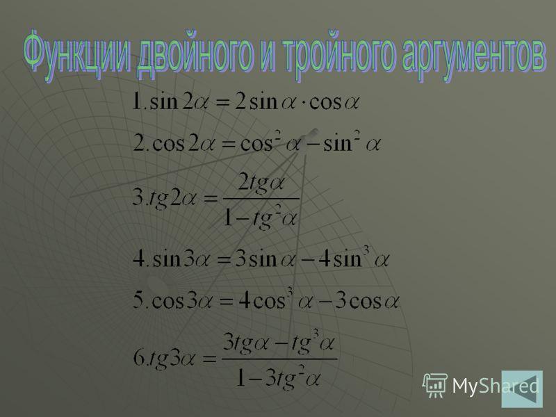 α Функция 0 sinα 010 cosα 10 tgα 01-0 ctgα -10-