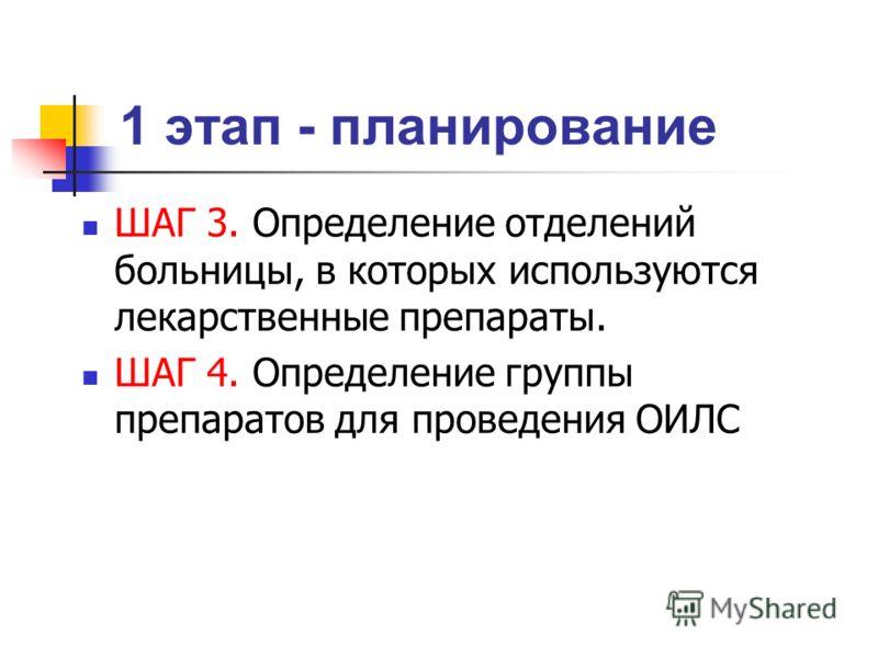 ШАГ 3. Определение отделений больницы, в которых используются лекарственные препараты. ШАГ 4. Определение группы препаратов для проведения ОИЛС