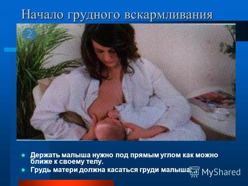Начало грудного вскармливания Держать малыша нужно под прямым углом как можно ближе к своему телу. Грудь матери должна касаться груди малыша.