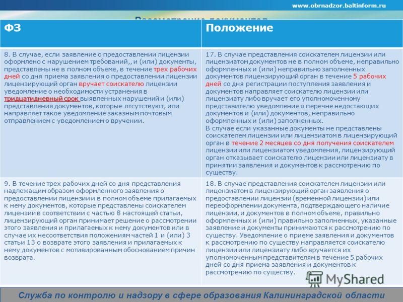 www.obrnadzor.baltinform.ru Company Logo Служба по контролю и надзору в сфере образования Калининградской области Рассмотрение документов. ФЗПоложение тридцатидневный срок 8. В случае, если заявление о предоставлении лицензии оформлено с нарушением т