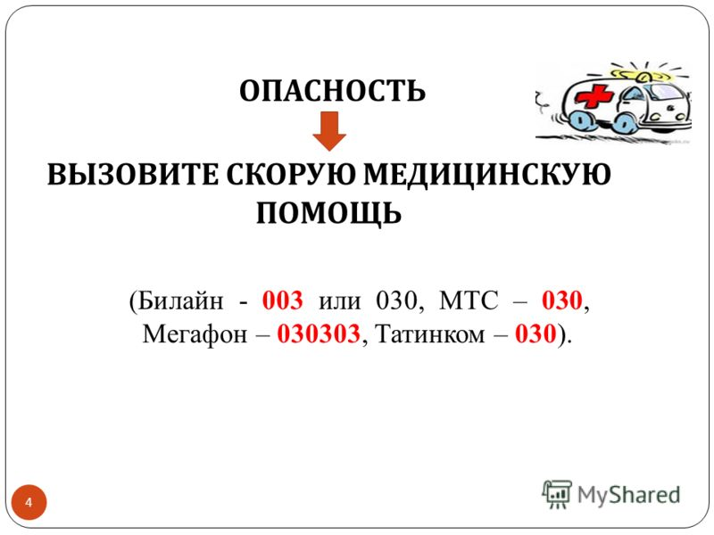 4 ОПАСНОСТЬ ВЫЗОВИТЕ СКОРУЮ МЕДИЦИНСКУЮ ПОМОЩЬ (Билайн - 003 или 030, МТС – 030, Мегафон – 030303, Татинком – 030).