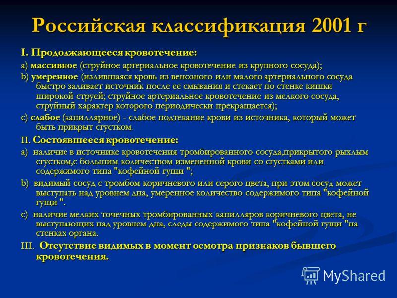Российская классификация 2001 г I. Продолжающееся кровотечение: a) массивное (струйное артериальное кровотечение из крупного сосуда); b) умеренное (излившаяся кровь из венозного или малого артериального сосуда быстро заливает источник после ее смыван