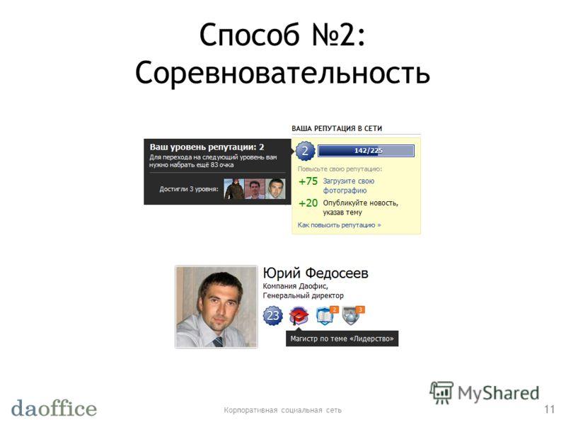 Способ 2: Соревновательность Корпоративная социальная сеть 11