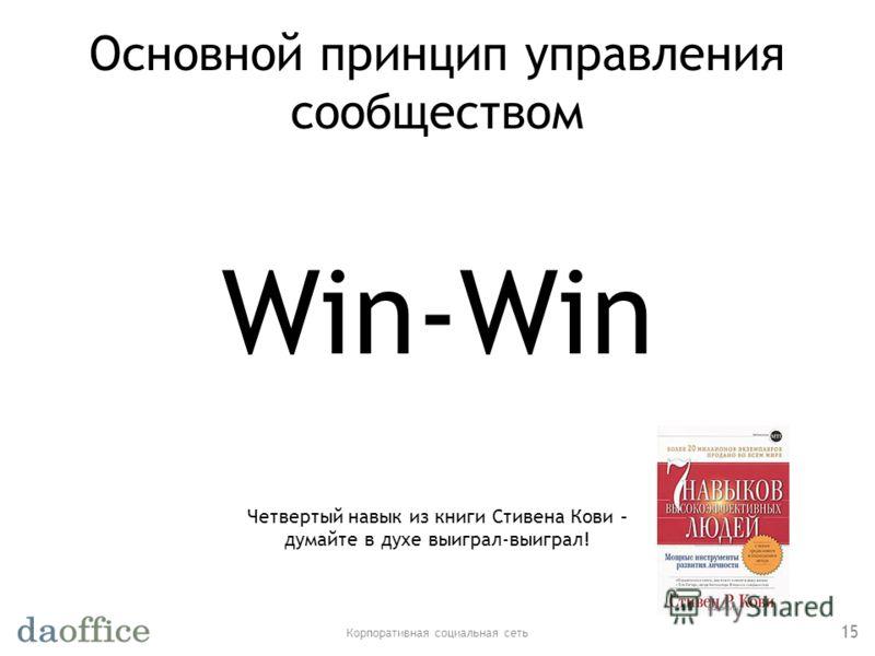 Основной принцип управления сообществом Корпоративная социальная сеть 15 Win-Win Четвертый навык из книги Стивена Кови – думайте в духе выиграл-выиграл!