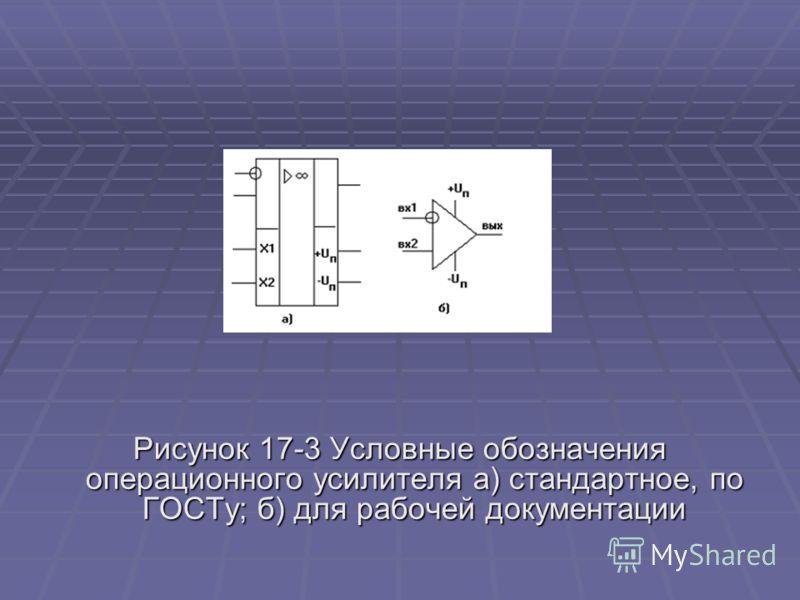 Рисунок 17-3 Условные обозначения операционного усилителя а) стандартное, по ГОСТу; б) для рабочей документации