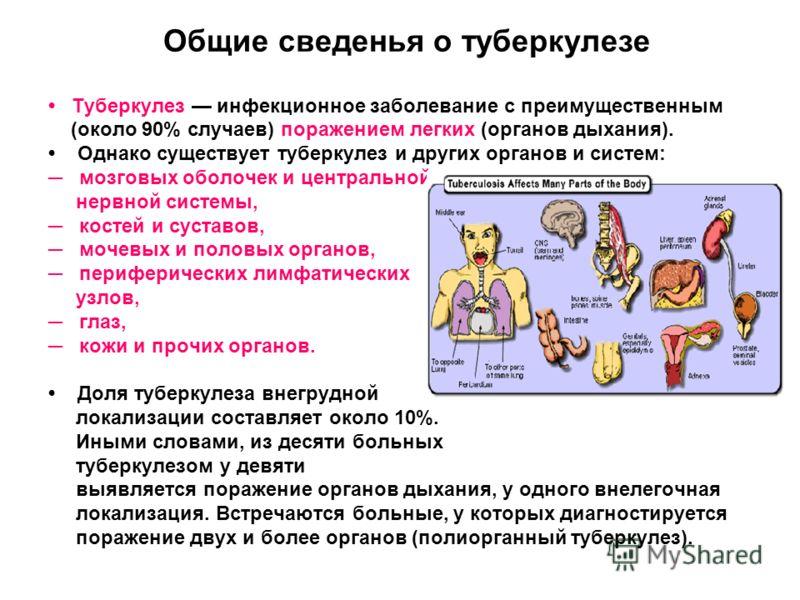 Общие сведенья о туберкулезе Туберкулез инфекционное заболевание с преимущественным (около 90% случаев) поражением легких (органов дыхания). Однако существует туберкулез и других органов и систем: мозговых оболочек и центральной нервной системы, кост