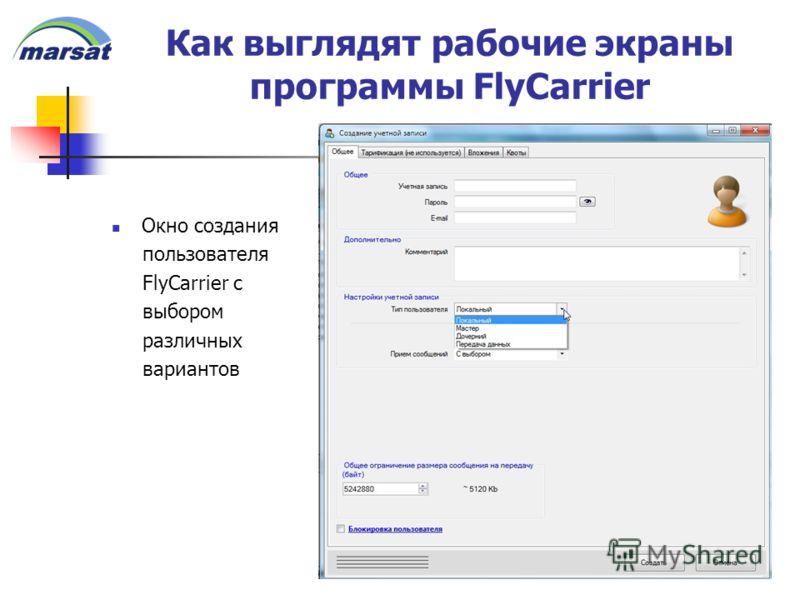 Как выглядят рабочие экраны программы FlyCarrier Окно создания пользователя FlyCarrier с выбором различных вариантов