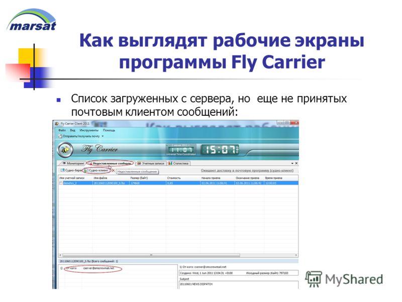 Как выглядят рабочие экраны программы Fly Carrier Список загруженных с сервера, но еще не принятых почтовым клиентом сообщений: