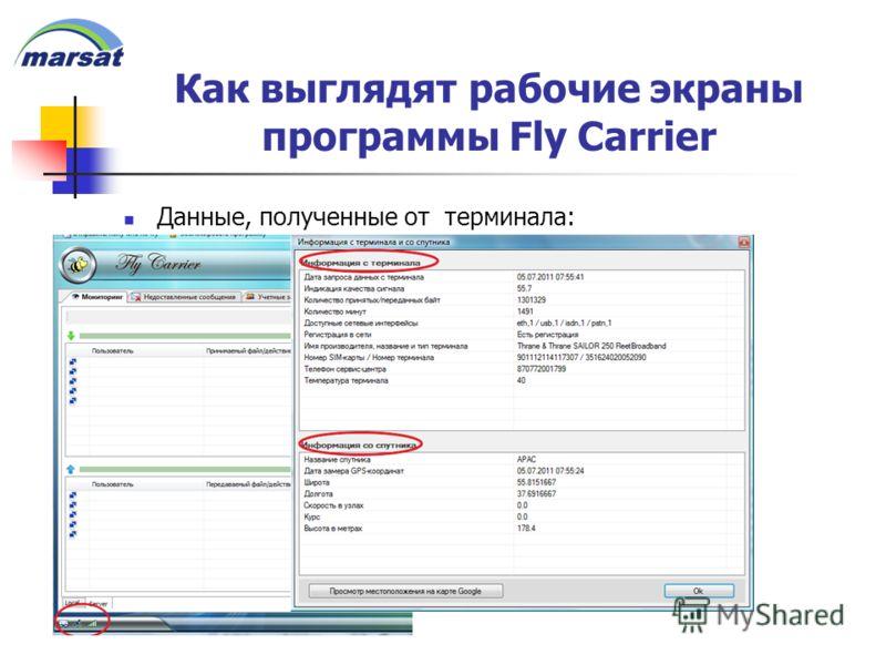Как выглядят рабочие экраны программы Fly Carrier Данные, полученные от терминала: