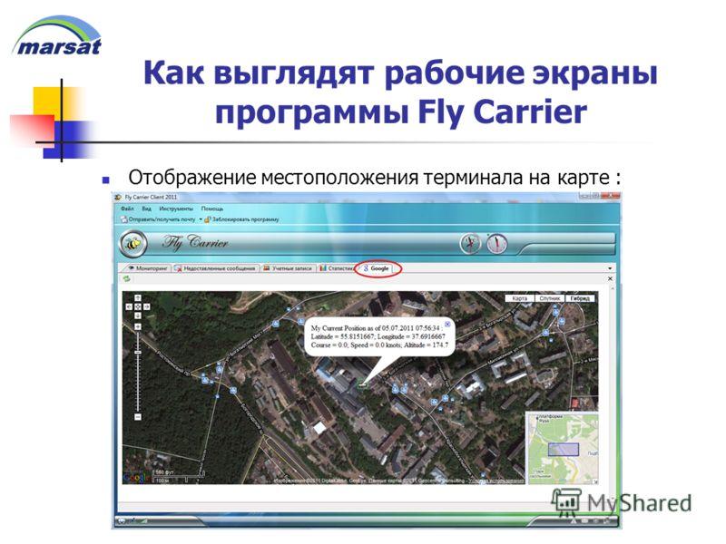 Как выглядят рабочие экраны программы Fly Carrier Отображение местоположения терминала на карте :