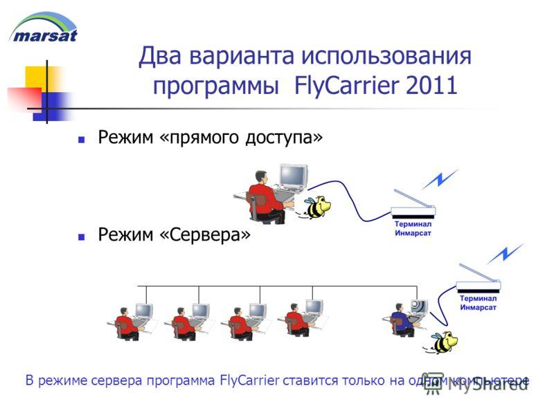 Два варианта использования программы FlyCarrier 2011 Режим «прямого доступа» Режим «Сервера» В режиме сервера программа FlyCarrier ставится только на одном компьютере