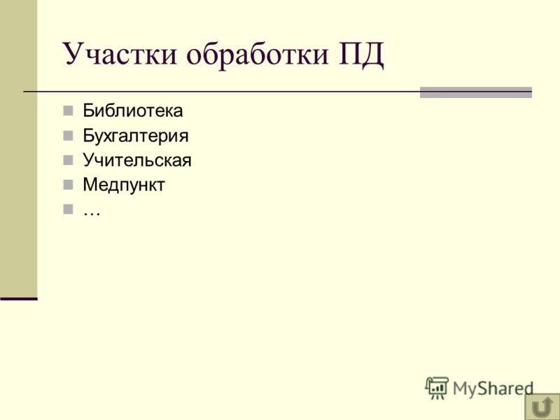 Участки обработки ПД Библиотека Бухгалтерия Учительская Медпункт …