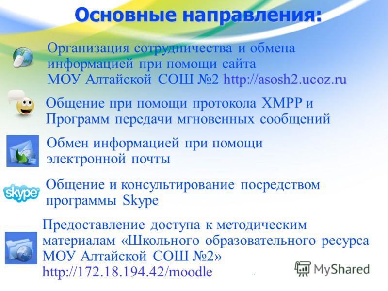 www.edu.yar.ru © Центр телекоммуникации и информационных систем в образовании Основные направления: Обмен информацией при помощи электронной почты Организация сотрудничества и обмена информацией при помощи сайта МОУ Алтайской СОШ 2 http://asosh2.ucoz