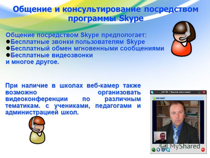 www.edu.yar.ru © Центр телекоммуникации и информационных систем в образовании Общение и консультирование посредством программы Skype Общение посредством Skype предпологает: Бесплатные звонки пользователям Skype Бесплатные звонки пользователям Skype Б