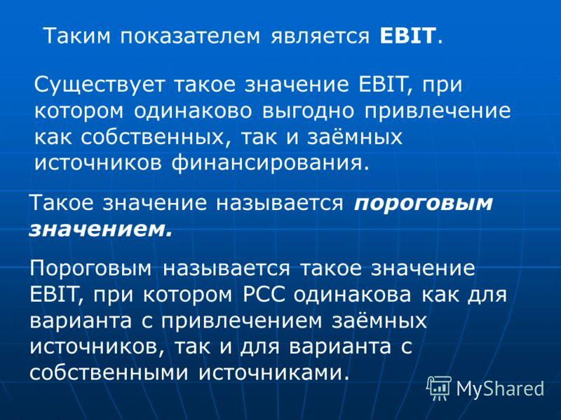 Существует такое значение EBIT, при котором одинаково выгодно привлечение как собственных, так и заёмных источников финансирования. Такое значение называется пороговым значением. Пороговым называется такое значение EBIT, при котором РСС одинакова как