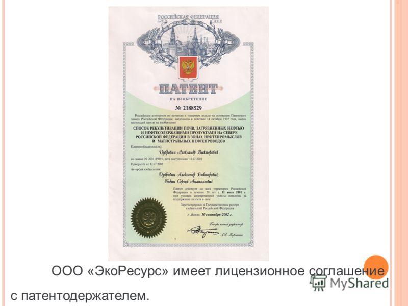 ООО «ЭкоРесурс» имеет лицензионное соглашение с патентодержателем.