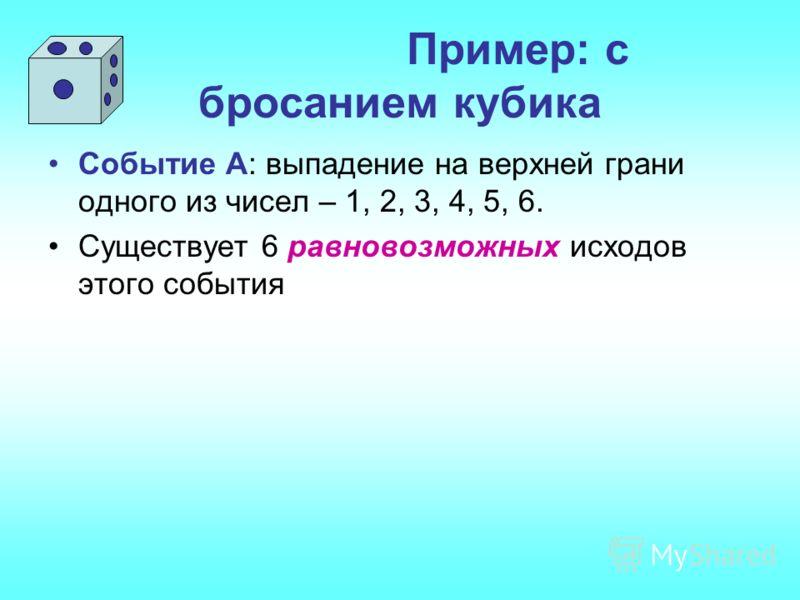 Пример: с бросанием кубика Событие А: выпадение на верхней грани одного из чисел – 1, 2, 3, 4, 5, 6. Существует 6 равновозможных исходов этого события