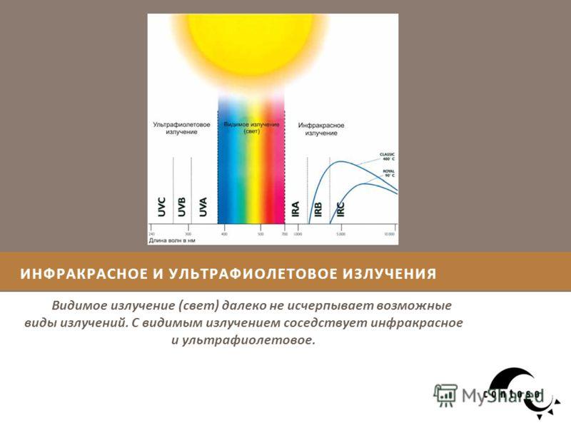 ИНФРАКРАСНОЕ И УЛЬТРАФИОЛЕТОВОЕ ИЗЛУЧЕНИЯ Видимое излучение (свет) далеко не исчерпывает возможные виды излучений. С видимым излучением соседствует инфракрасное и ультрафиолетовое.