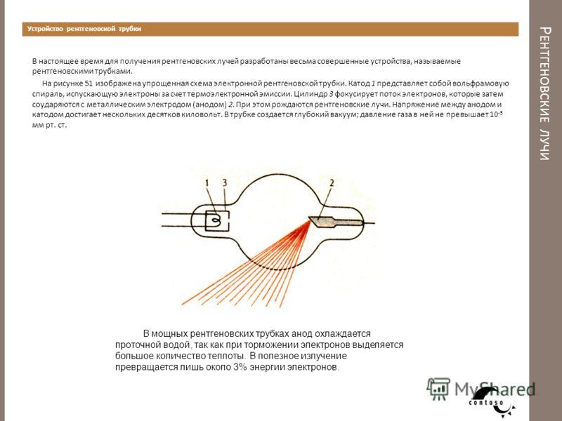 Р ЕНТГЕНОВСКИЕ ЛУЧИ Устройство рентгеновской трубки В настоящее время для получения рентгеновских лучей разработаны весьма совершенные устройства, называемые рентгеновскими трубками. На рисунке 51 изображена упрощенная схема электронной рентгеновской