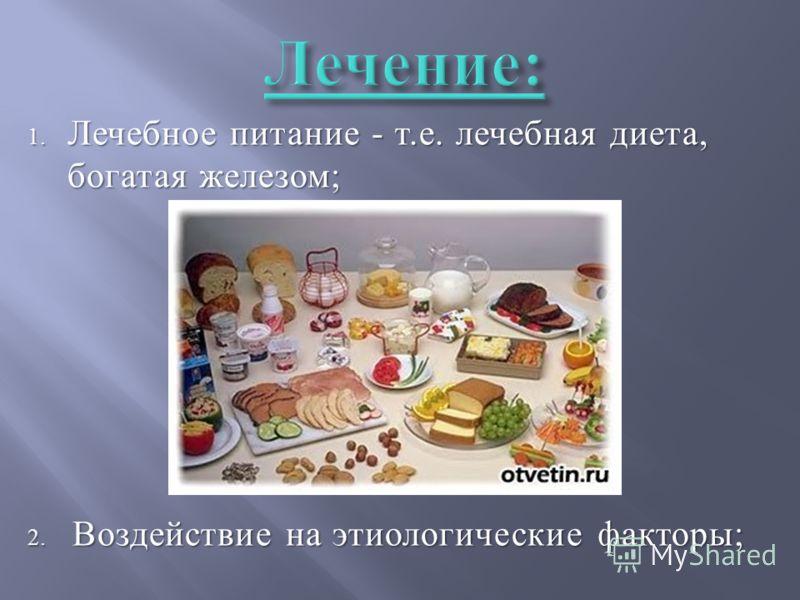 1. Лечебное питание - т. е. лечебная диета, богатая железом ; 2. Воздействие на этиологические факторы ;