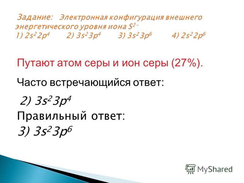 Путают атом серы и ион серы (27%). Часто встречающийся ответ: 2) 3s 2 3p 4 Правильный ответ: 3) 3s 2 3p 6